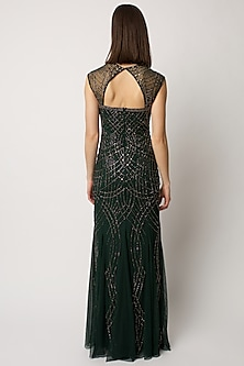 Emerald Green Embellished Gown by Raishma