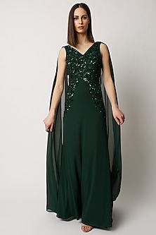 Emerald Green Hand Embroidery Gown by Raishma