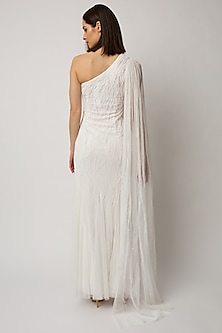 White Sequins Embroidered Gown by Raishma
