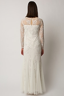 White Beaded & Embellished Gown by Raishma