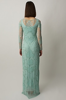 Mint Green Gown With Embellished Jacket by Raishma