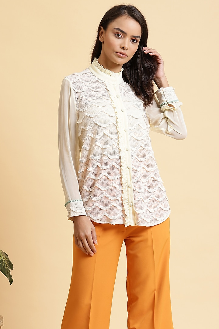 Off White Lace Top by RADKA INDIA
