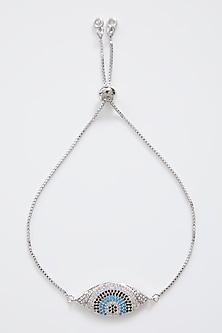 Silver Finish Evil Eye Rakhi With Adjustable Chain by Rakhiwale-SEND RAKHIS TO AUSTRALIA