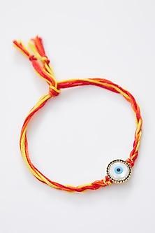 Gold Finish Cotton Thread Evil Eye Rakhi by Rakhiwale-SEND RAKHIS TO UK