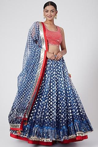 Blue Embroidered Lehenga Set by RANG by Manjula Soni