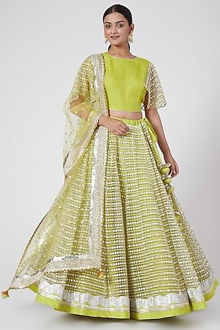 Lime Green Embroidered Lehenga Set by RANG by Manjula Soni
