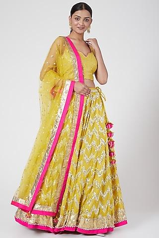 Lime Yellow Embroidered Lehenga Set by RANG by Manjula Soni