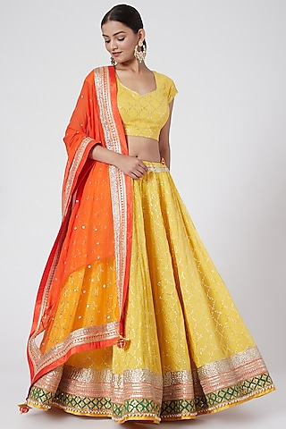 Yellow & Orange Embroidered Lehenga Set by RANG by Manjula Soni