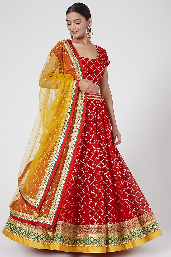 Red Embroidered Lehenga Set by RANG by Manjula Soni
