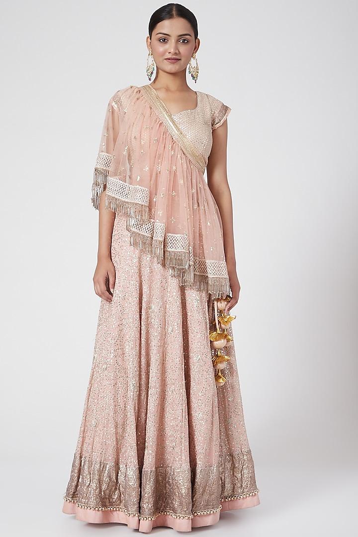 Baby Pink Embroidered Lehenga Set by RANG by Manjula Soni