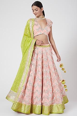 Peach & Green Embroidered Lehenga Set by RANG by Manjula Soni
