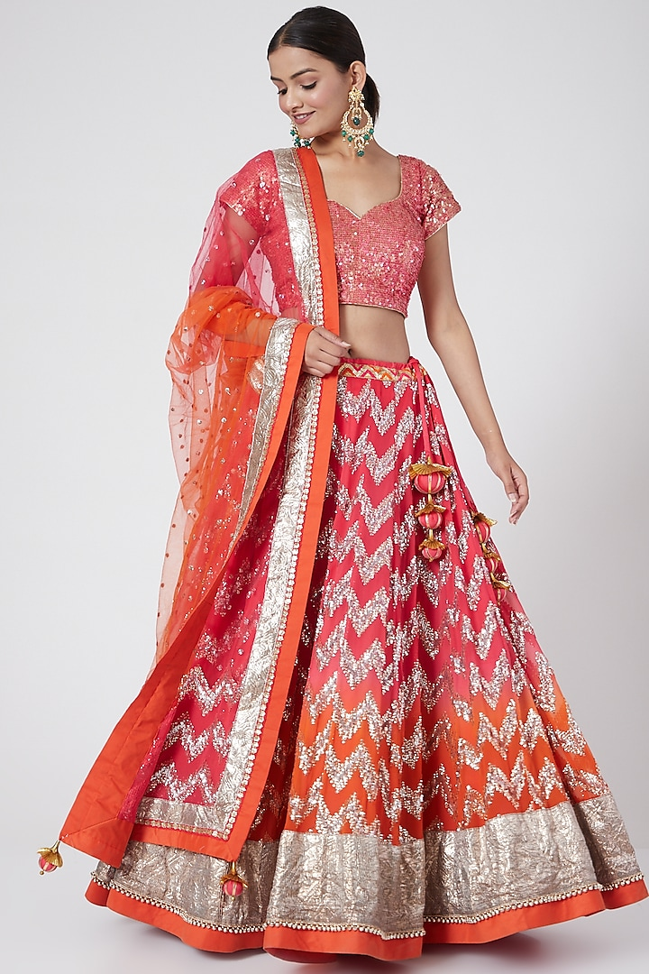 Pink Embroidered Ombre Lehenga Set by RANG by Manjula Soni