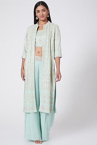 Turquoise Embroidered Jacket Set by RANG by Manjula Soni