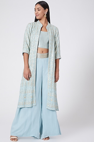 Ice Blue Embroidered Jacket Set by RANG by Manjula Soni