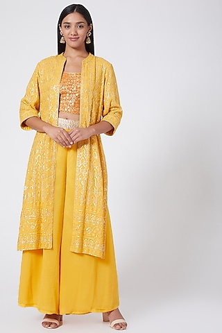 Sunflower Yellow Embroidered Jacket Set by RANG by Manjula Soni