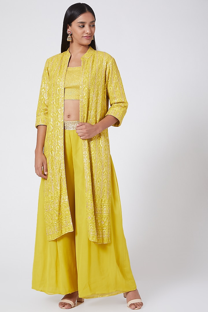 Lime Yellow Embroidered Jacket Set by RANG by Manjula Soni