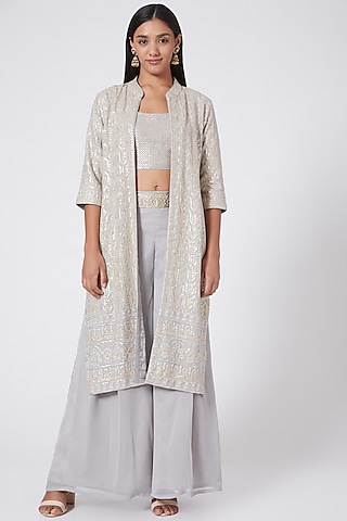 Dove Grey Embroidered Jacket Set by RANG by Manjula Soni