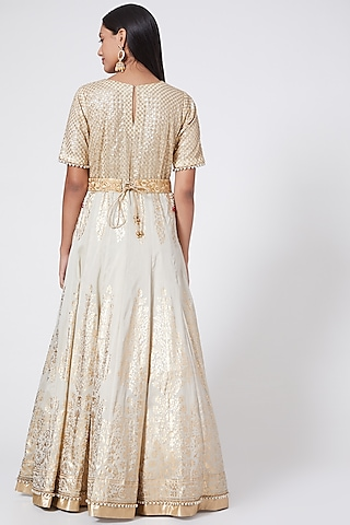 Cream & Gold Embroidered Anarkali Set by RANG by Manjula Soni
