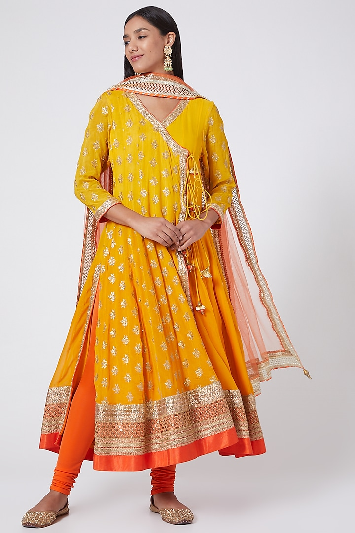 Yellow Embroidered Ombre Angrakha Kurta Set by RANG by Manjula Soni
