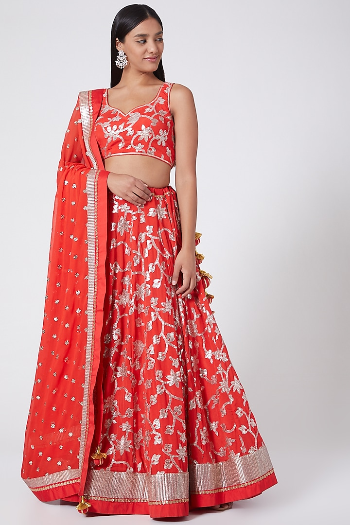 Sindoor Red Embroidered Lehenga Set by RANG by Manjula Soni
