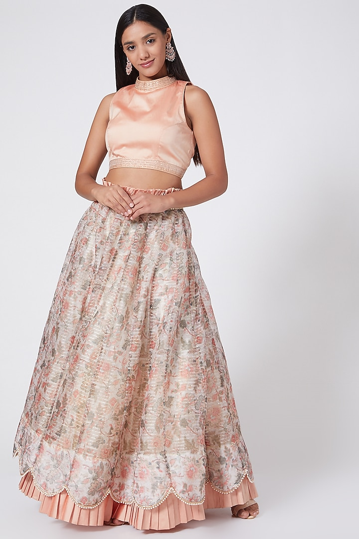 Peach Embroidered Skirt Set by RANG by Manjula Soni