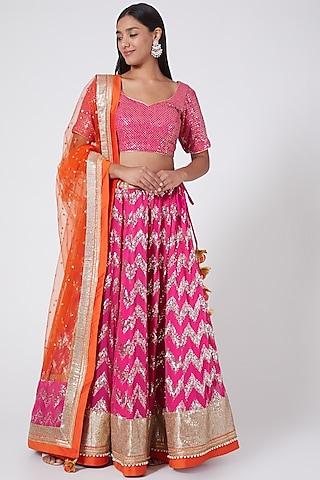 Magenta Embroidered Kalidar Lehenga Set by RANG by Manjula Soni