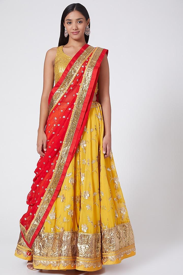 Mustard Yellow Embroidered Kalidar Lehenga Set by RANG by Manjula Soni