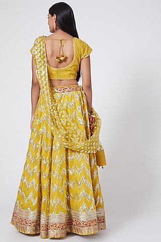 Yellow Embroidered Lehenga Set by RANG by Manjula Soni