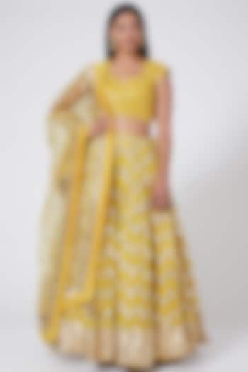 Yellow Ombre Sequins Embroidered Lehenga Set by RANG by Manjula Soni