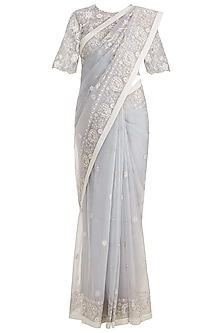 Ecru Embroidered Saree Set by RAR Studio