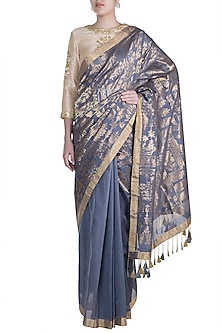 Grey Embroidered Saree Set by RAR Studio