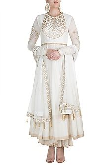 Ivory Hand Embroidered Anarkali Set by RAR Studio