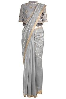 Ecru Hand Embroidered Saree Set by RAR Studio