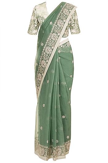 Moss Green Embroidered Saree Set by RAR Studio