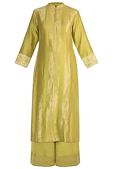Mustard Hand Woven Kurta Set by RAR Studio