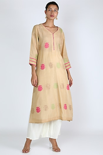 Beige Tunic With Aari Work by Rar Studio