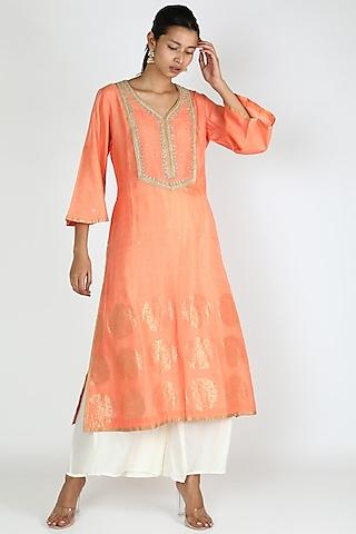 Peach Embellished Tunic by Rar Studio