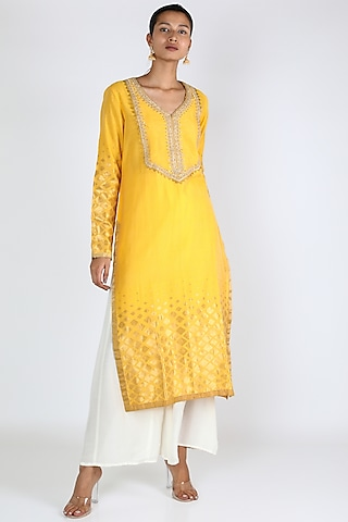 Yellow Embroidered Silk Tunic by Rar Studio