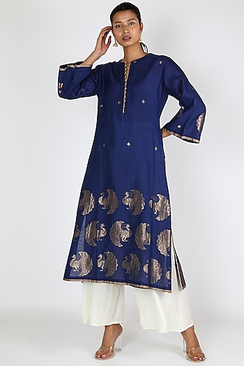 Blue Dancing Peacock Tunic by Rar Studio