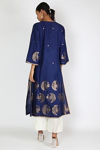 Blue Dancing Peacock Tunic by Rar Studio