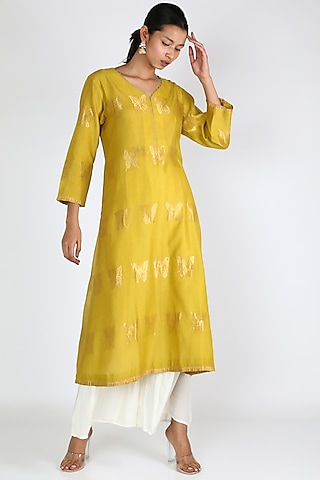 Lime Yellow Butterfly Silk Tunic by Rar Studio