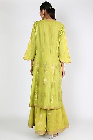 Lime Green Printed & Embroidered Kurta Set by Rar Studio