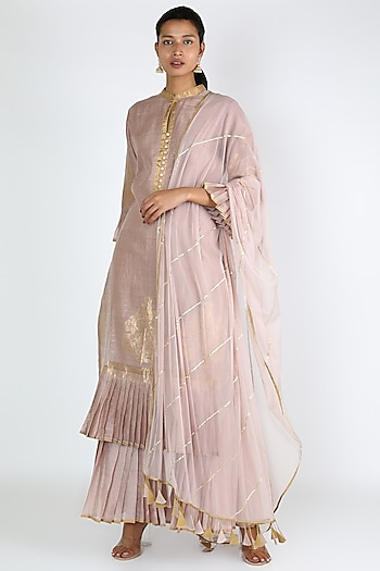 Nude Silk & Cotton Kurta Set by Rar Studio