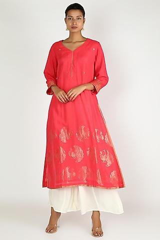 Red Mayur Jaal Tunic by Rar Studio