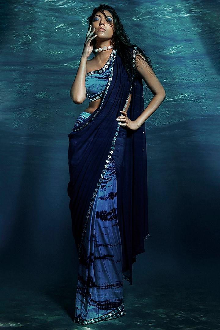 Blue Tie & Dye Pre-Stitched Saree Set by Reeti Arneja