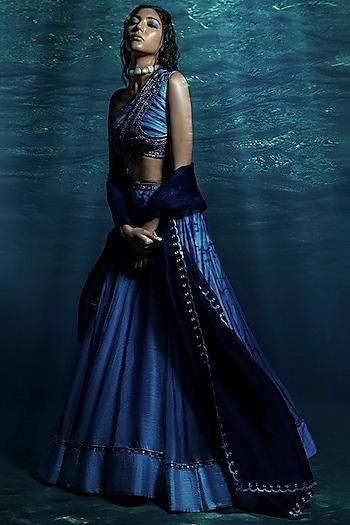 Blue Tie & Dye Lehenga Set by Reeti Arneja