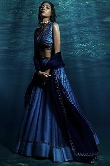 Blue Tie & Dye Lehenga Set by Reeti Arneja-REETI ARNEJA