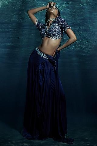 Blue Embellished Pre-Stitched Saree Set by Reeti Arneja