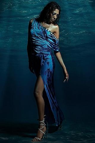 Blue One Shoulder Dress by Reeti Arneja