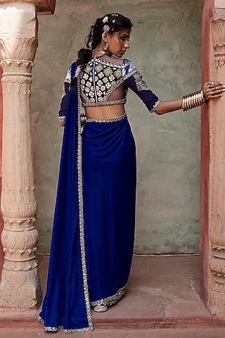 Cobalt Blue Pre-Stitched Saree Set by Reeti Arneja
